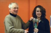 Hannah Payton receives the 2009 cyclo-cross trophy from Terry Rowntree, Chairman